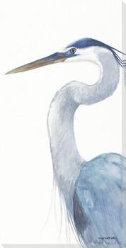 Blue Heron Bird Pose II Wrapped Canvas Giclee Print Wall Art
