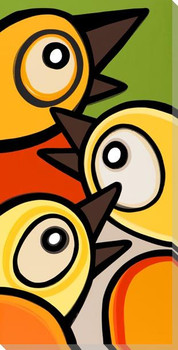 Trio of Birds Wrapped Canvas Giclee Print Wall Art