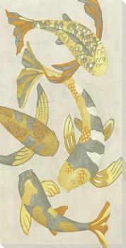 Golden Koi Fish II Wrapped Canvas Giclee Print Wall Art