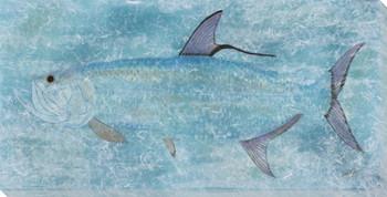 Blue Torpedo Tarpon Moku Fish Wrapped Canvas Giclee Print