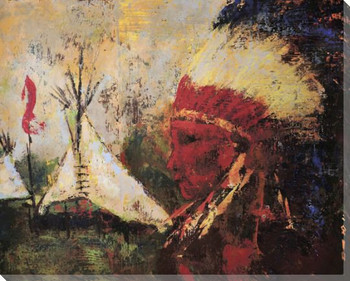 Looking West Native American Wrapped Canvas Giclee Print Wall Art
