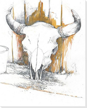 Horned Skull Wrapped Canvas Giclee Print Wall Art