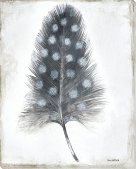 Single Feather Wrapped Canvas Giclee Print Wall Art