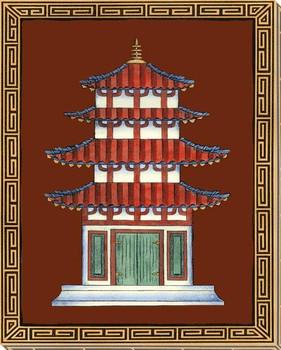 Pagodas II Wrapped Canvas Giclee Art Print Wall Art