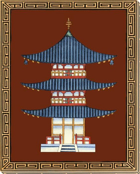 Pagodas IV Wrapped Canvas Giclee Art Print Wall Art