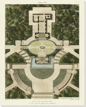 Plan De La Villa Pia Wrapped Canvas Giclee Art Print Wall Art