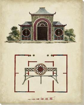 Garden Follies Plan IV Wrapped Canvas Giclee Art Print Wall Art