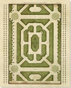 Plan L'Architecture du Jardinage 3 Wrapped Canvas Giclee Art Print