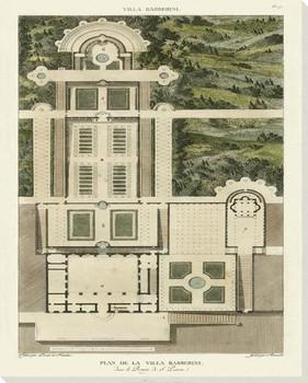Plan De La Villa Barberini Wrapped Canvas Giclee Art Print Wall Art