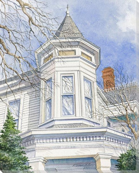 Top Front View House Structure Wrapped Canvas Giclee Print Wall Art