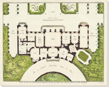 Plan au Rez de Chaussee du Trianon Place Wrapped Canvas Giclee Print