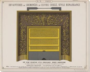 Plan Fireplace Rendering Renaissance Wrapped Canvas Giclee Art Print