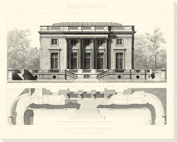 Palais du Petit Trianon Plan Wrapped Canvas Giclee Art Print Wall Art