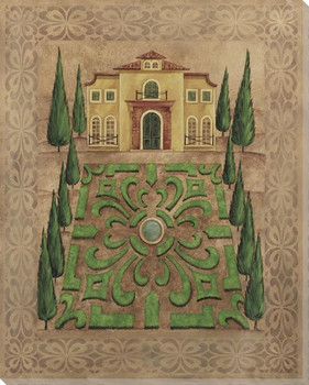 Venetian Mansion Garden Plan III Wrapped Canvas Giclee Print Wall Art