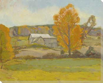Fall Barn Wrapped Canvas Giclee Print Wall Art