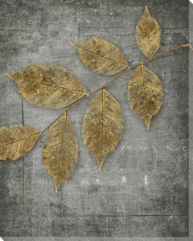 Golden Leaves 2 Wrapped Canvas Giclee Print Wall Art