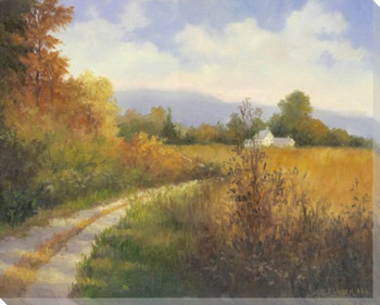 Autumn Country Road Wrapped Canvas Giclee Print Wall Art
