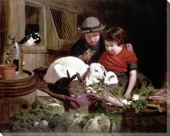 Rabbit Fanciers Wrapped Canvas Giclee Print Wall Art