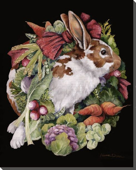 Bountiful Harvest Bunny Rabbit Wrapped Canvas Giclee Print