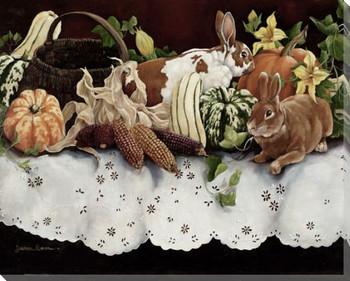 Four Seasons I Rabbits Wrapped Canvas Giclee Print Wall Art