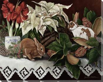 Four Seasons II Rabbits Wrapped Canvas Giclee Print Wall Art