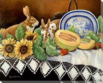 Four Seasons III Rabbits Wrapped Canvas Giclee Print Wall Art