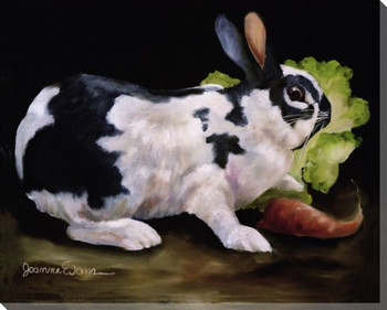 Midnight Snack Bunny Rabbit Wrapped Canvas Giclee Print Wall Art