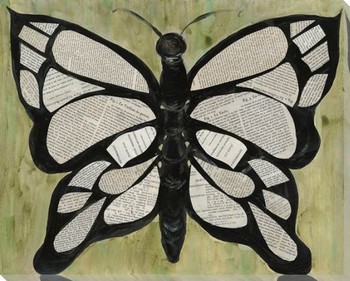 Butterfly Text Wrapped Canvas Giclee Print Wall Art
