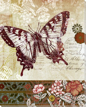 Patterned Butterfly Two Wrapped Canvas Giclee Print Wall Art