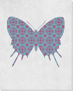 Bold Butterfly Purple & Blue Wrapped Canvas Giclee Print Wall Art