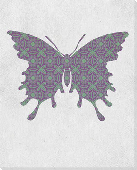 Bold Butterfly Green & Purple Wrapped Canvas Giclee Print Wall Art