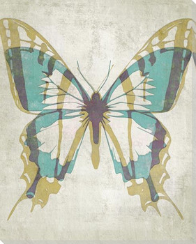Letterpress Butterfly Turquoise Tan Wrapped Canvas Giclee Art Print
