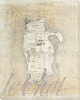 Chat Deux Cat Wrapped Canvas Giclee Print Wall Art