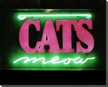 Cats Meow Neon Sign Wrapped Canvas Giclee Print Wall Art