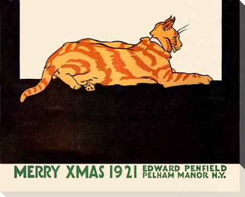 Merry Xmas 1921 Cat Wrapped Canvas Giclee Print Wall Art