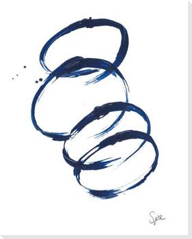 Indigo Round I Wrapped Canvas Giclee Art Print Wall Art