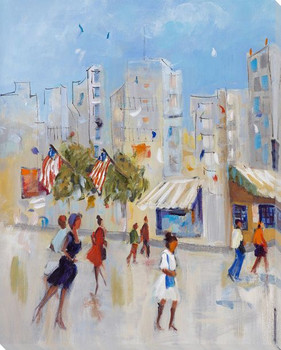 Strolling the City Cityscape I Wrapped Canvas Giclee Print