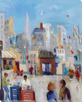 Strolling the City Cityscape II Wrapped Canvas Giclee Print