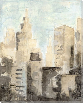 Metropolis Cityscape II Wrapped Canvas Giclee Print Wall Art