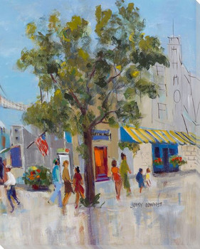 Strolling the City Cityscape III Wrapped Canvas Giclee Print