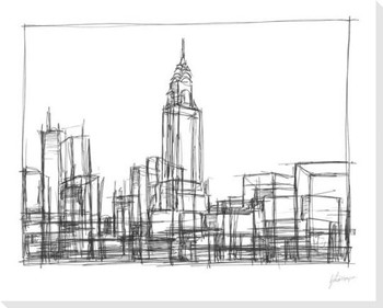 Wire Frame Cityscape II Wrapped Canvas Giclee Print Wall Art