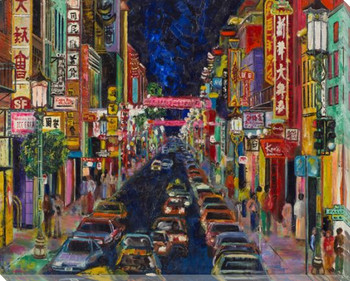 San Francisco China Town Wrapped Canvas Giclee Print Wall Art