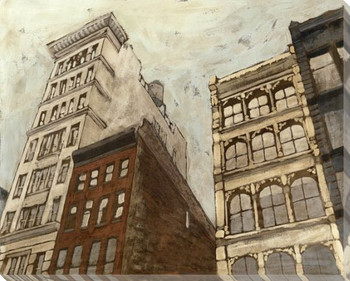 West Village Cityscape I Wrapped Canvas Giclee Print Wall Art