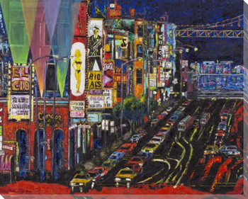San Fran Red Light District Wrapped Canvas Giclee Print Wall Art