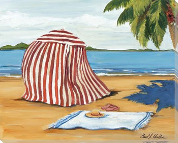 Beach Cabana Wrapped Canvas Giclee Art Print Wall Art
