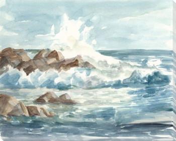 Coastal Watercolor I Wrapped Canvas Giclee Print Wall Art