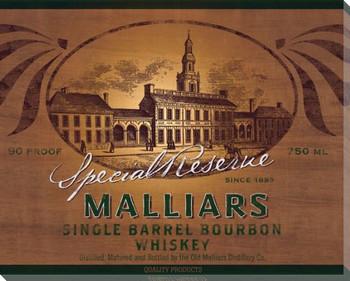 Malliars Bourbon Whiskey Wrapped Canvas Giclee Print Wall Art