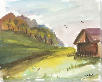 Brown Barn Wrapped Canvas Giclee Print Wall Art
