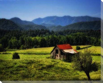 Mountain Barn Wrapped Canvas Giclee Print Wall Art