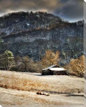 Snow on a Mountain Barn Wrapped Canvas Giclee Print Wall Art